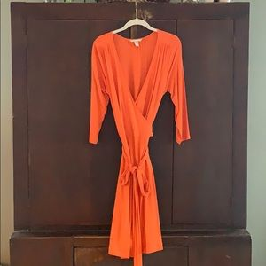 Orange wrap dress from Banana Republic